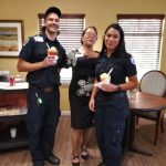 Marketing Director, Rhoda Takeda treats two paramedics to Halo Halo for returning one of residents safely back home with care to Fremont Hills.