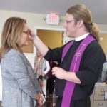 Executive Director, Joan Newman receiving her ashes