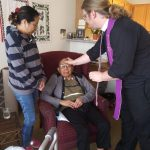 Resident Jose receives his ashes in his apartment