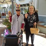 Residents Pearl and BAnne sporting their bunny ears.