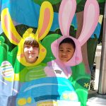 Two students from the T.H.IN.K. Home School asked if they could have their picture taken with the bunny ears