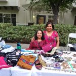 Our Nurse, Hitexa with her mother selling lots of beautiful Indian clothing and jewelry