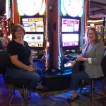 Executive Director Joan N. a fan of Cache Creek ready to try their luck on the Wheel Of Fortune
